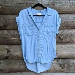 Cloth & Stone Short Sleeve Chambray Tencel Top